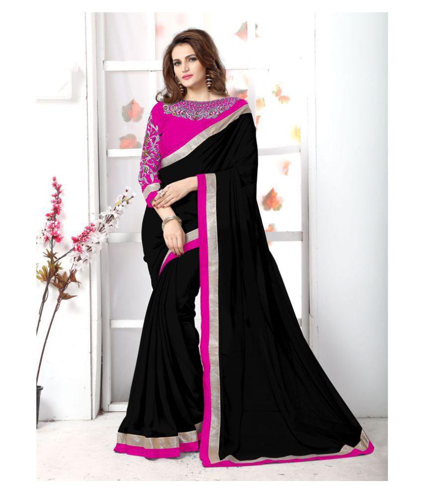 Onlinefayda Pink,Black Chiffon Saree