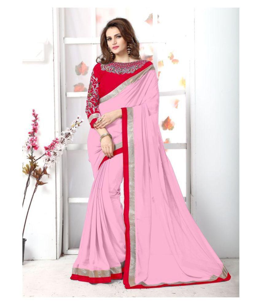 Onlinefayda Red,Pink Chiffon Saree