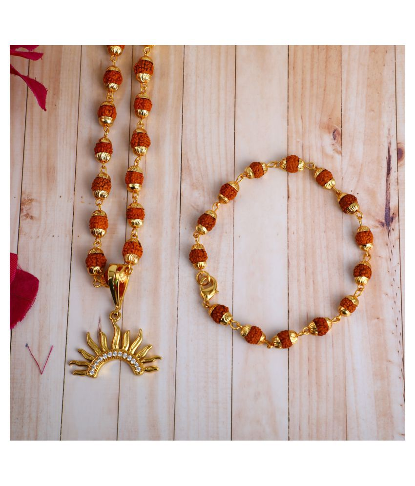 DIPALI  Locket With Puchmukhi Rudraksha Mala AND BRACELET Gold-plated Brass,FOR MEN AND BOYS