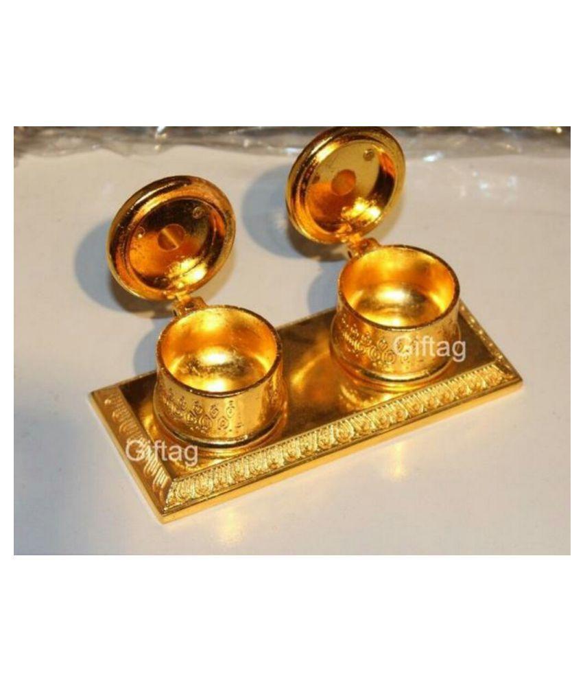 Abc Handicraft Double Beautiful Golden Metal/Zinc Chandan Roli Chopda, Chawal-Akshat-Haldi Box for Gift and Pooja Purpose (5 cm)