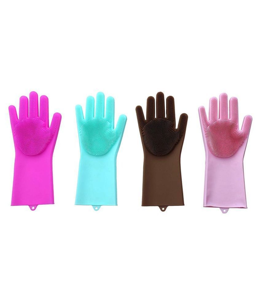 Online Mantra PVC Medium Cleaning Glove Silicon Hand Gloves
