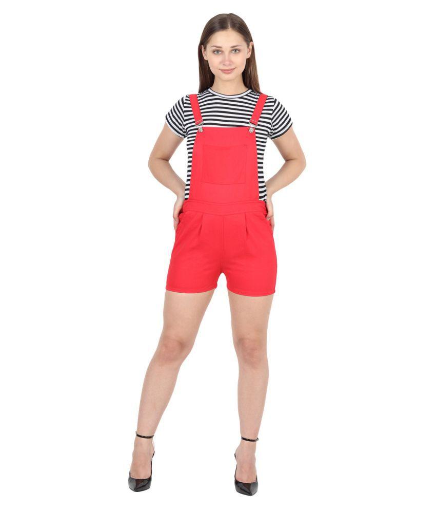 FineCreations Red Cotton Jumpsuit