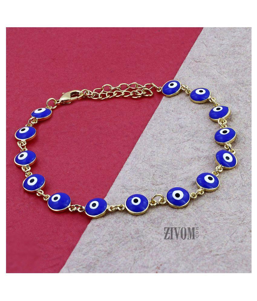 Zivom® Turkish Blue Evil Eye Western Stylish Dainty Delicate Charms Single Leg Gold Anklet Payal for Women Girls