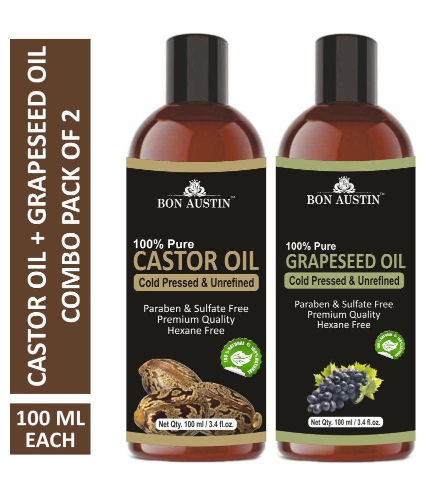 Bon Austin Premium Castor Oil & Grapeseed Oil - Cold Pressed & Unrefined Combo pack of 2 bottles of 100 ml(200 ml)