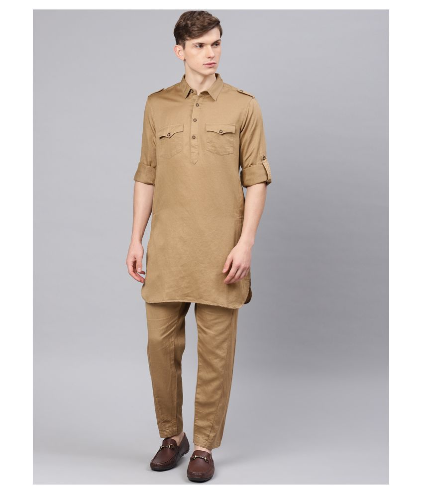 The Indian Garage Co. Khaki Cotton Kurta Pyjama Set