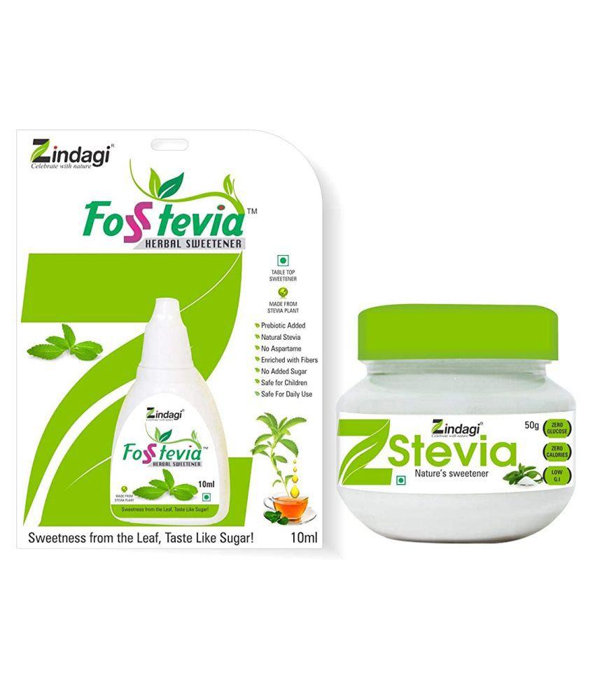 Zindagi Zindagi Stevia Liquid (FosStevia) - Natural Stevia Powder - Sugar-Free Stevia Sweetener (Stevia Combo Pack) Energy Drink for All 60 gm