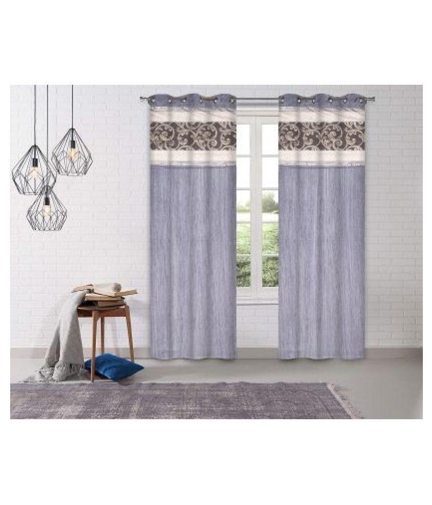 LINENS & DRAPES Set of 2 Window Blackout Room Darkening Eyelet Polyester Curtains Grey