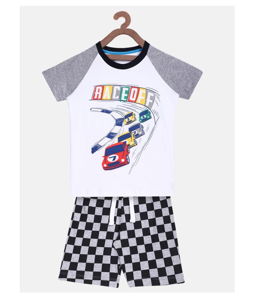 Lazy Shark Boys Racing Cars Printed Clothing Set