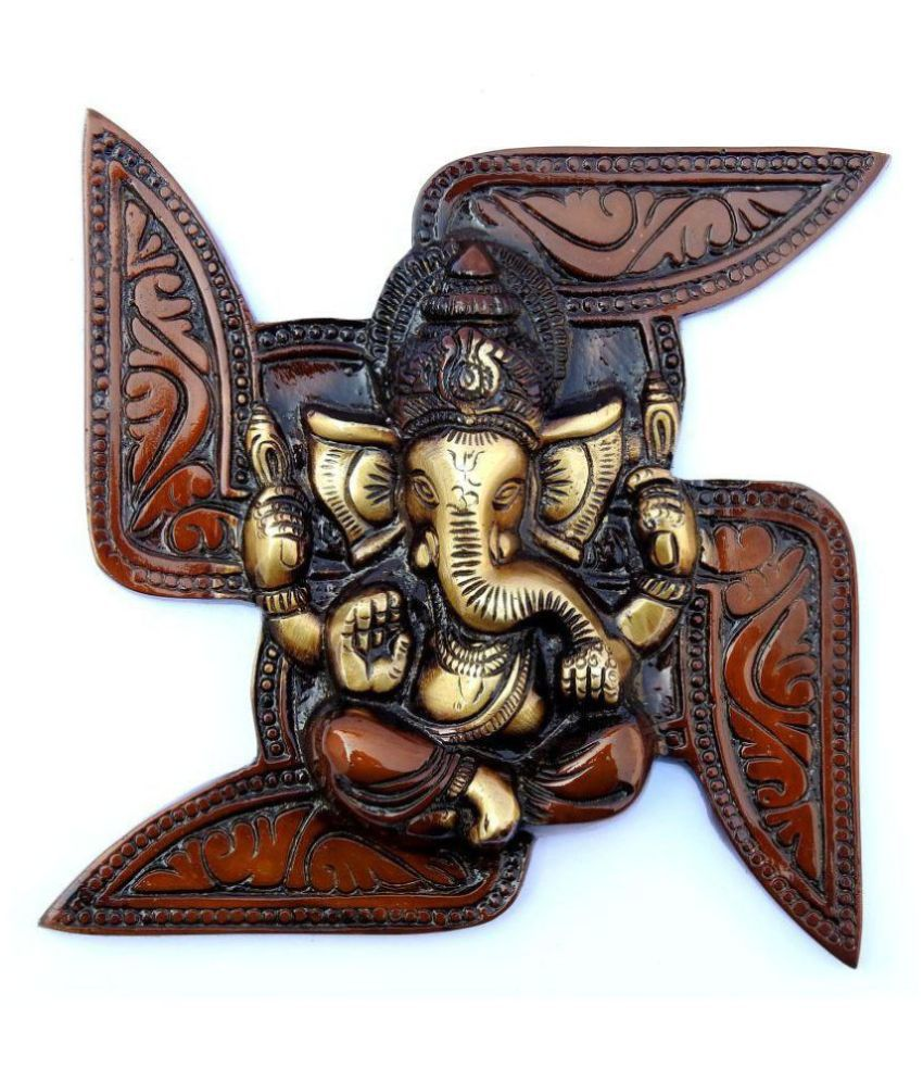 Susajjit Decor Brass Ganesha and Swastik Wall Hanging Wall Sculpture Brown - Pack of 1