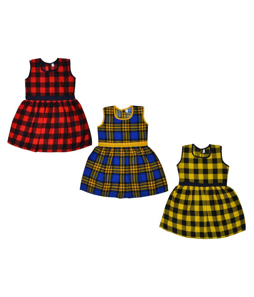 Sathiyas 100% Cotton Girls Checked Pattern Dress(Pack of 3)