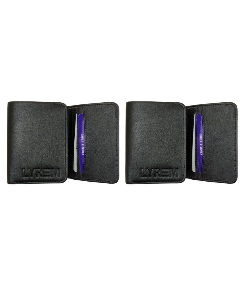LYREM PU Black Formal Regular Wallet