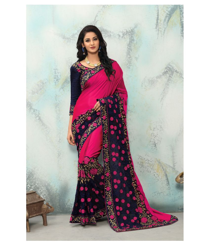 Onlinefayda Pink Silk Saree