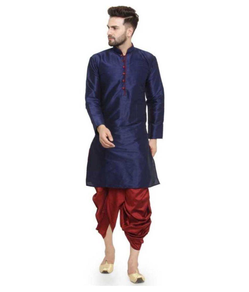 BENSTOKE Blue Silk Blend Dhoti Kurta Set Pack of 1
