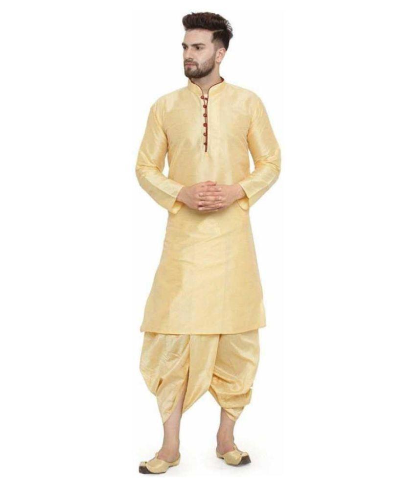 BENSTOKE Gold Silk Blend Dhoti Kurta Set Pack of 1