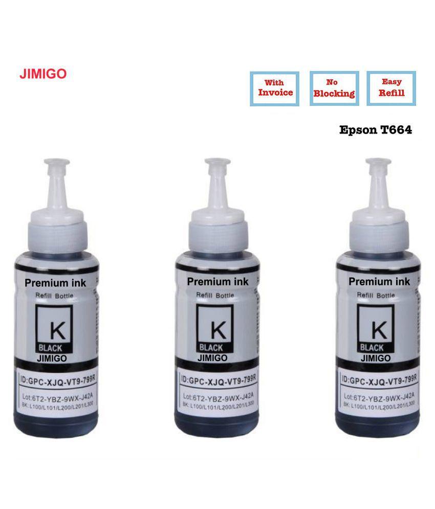 JIMIGO INK FOR EPSON  L550 Black Pack of 3 Ink bottle for Refill ink for Epson L130,L210,L220,L350,L360,L361,L365,L380,L385,L455,L485,L550,L555,L565