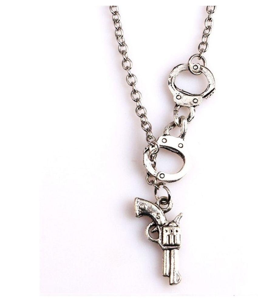 Fabula jewellery Silver Stainless Steel Gun Pistol Biker Pendant  For Men & Boys