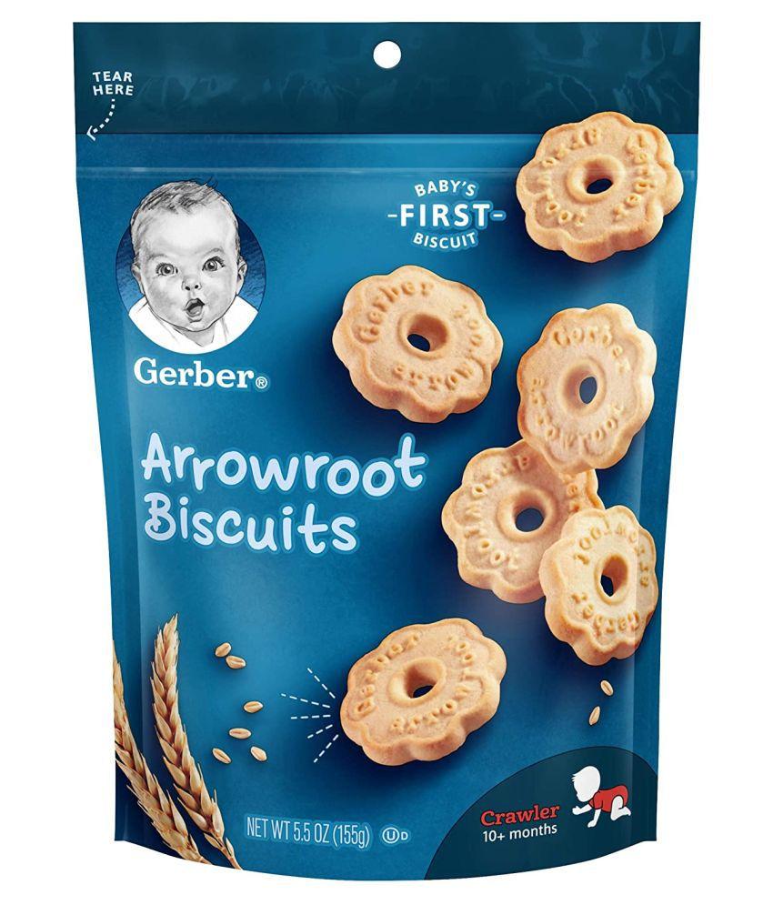 Gerber Baby Food arrowroot cokkies Biscuits for 12 Months + ( 155 gm )