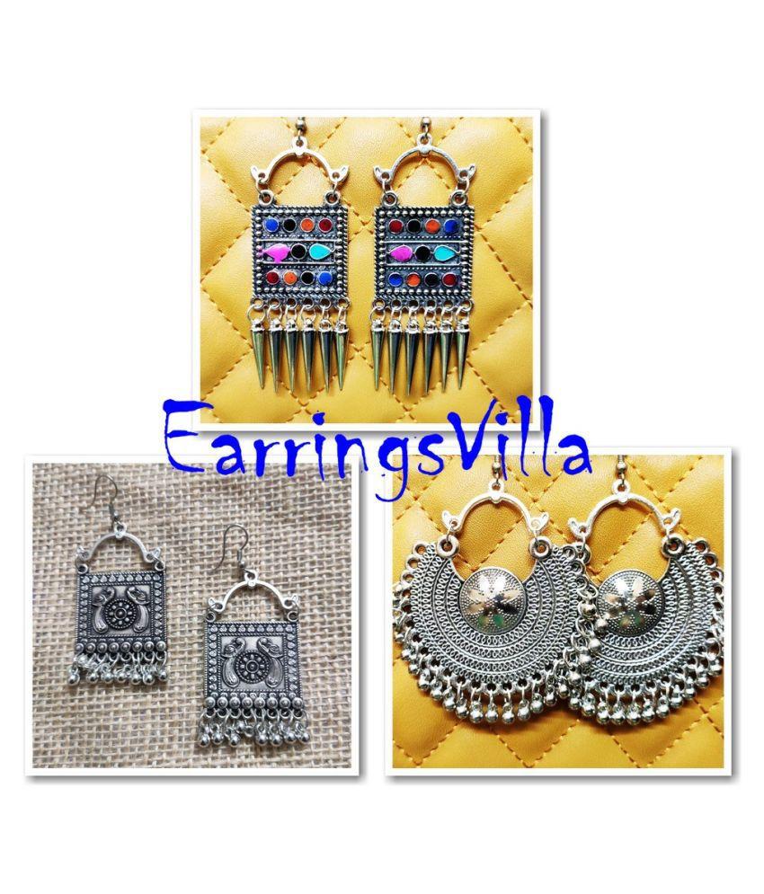 Earrings Latest Trendy Jhumki Bollywood Oxidised Stylish Afghani Tribal Earrings Fancy Party Wear Chandbali Combo of 3 Earrings