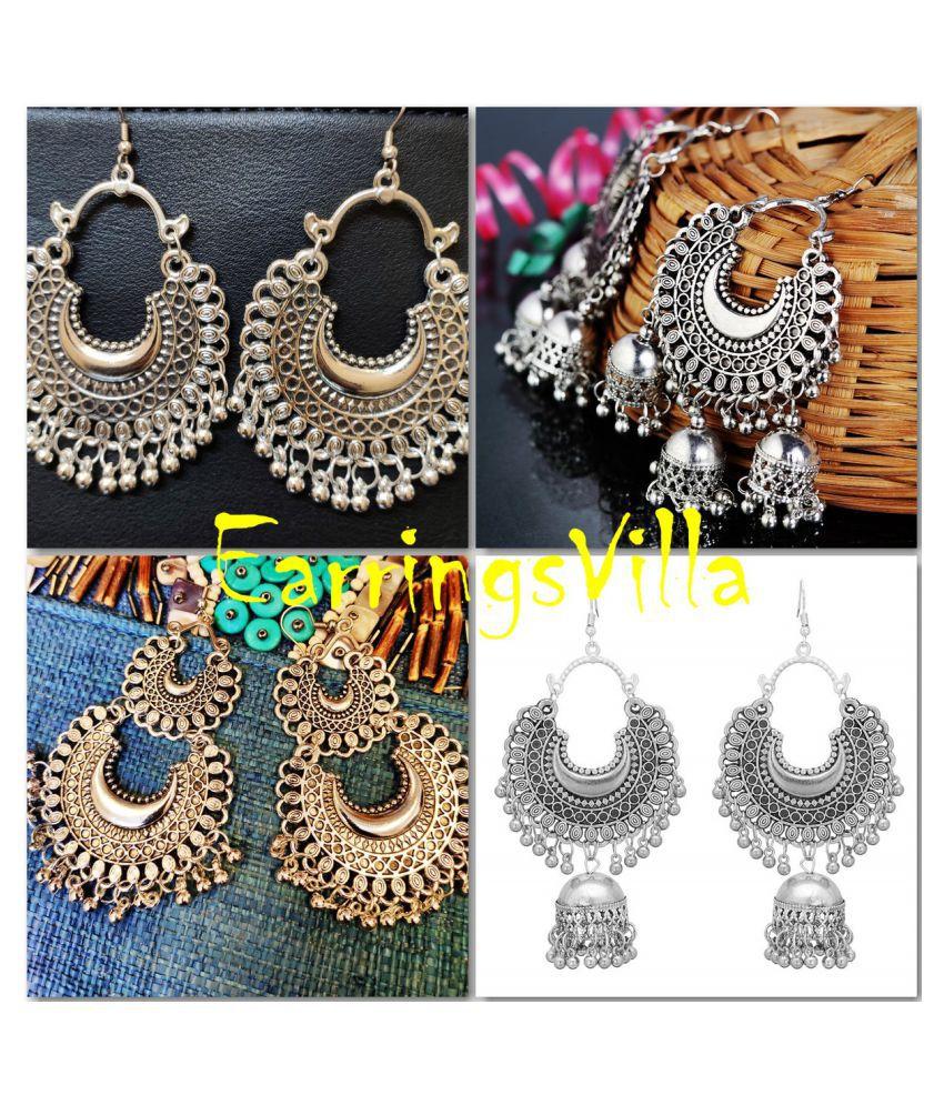 EarringsVilla New Designer Kashmiri Silver Dangle Oxidized Earrings for Women and Girls Combo of 4 Earrings