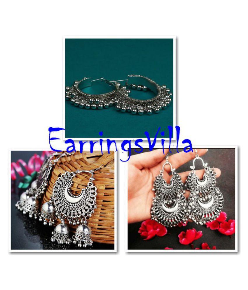 EarringsVilla New Designer Kashmiri Silver Dangle Oxidized Earrings for Women and Girls Combo of 3 Earrings