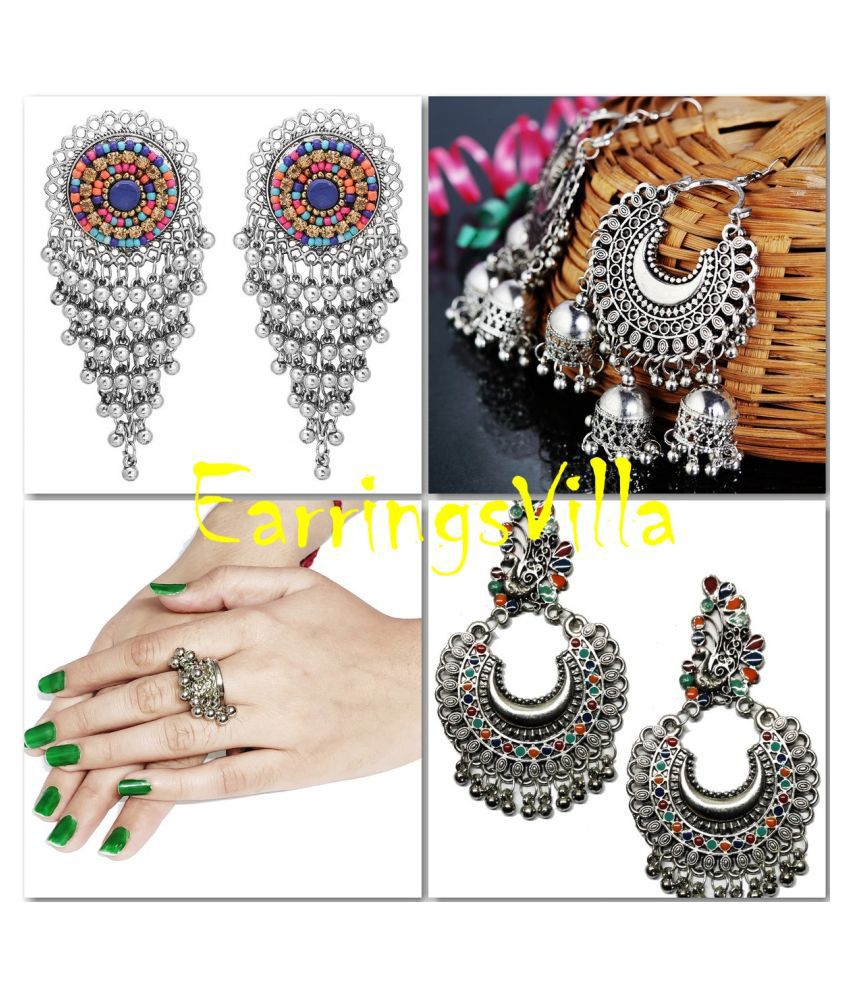 EarringsVilla New Silver Designer Kashmiri Dangle Trendy Oxidized Earrings for Women and Girls Combo of 4 Earrings