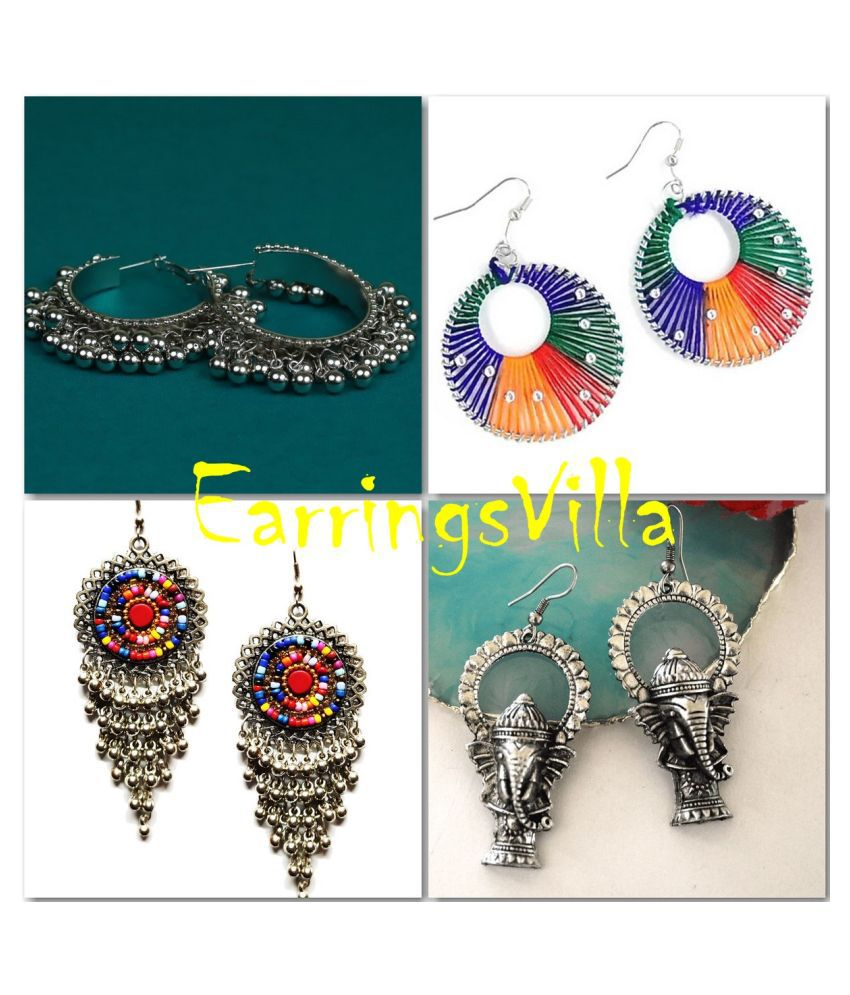 Exclusive Fashion Jewellery Silver Earrings For Girls and Women Combo of 4 Earrings
