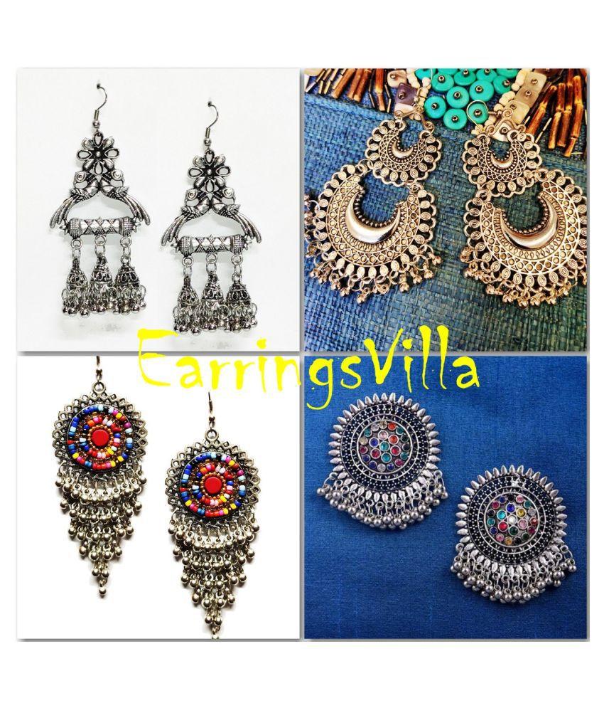 Fashion Jewellery Latest Silver Fashion Earrings, Trendy Jhumki Traditional Fashion Earrings Fashion EarringsVilla Combo Combo of 4 Earrings