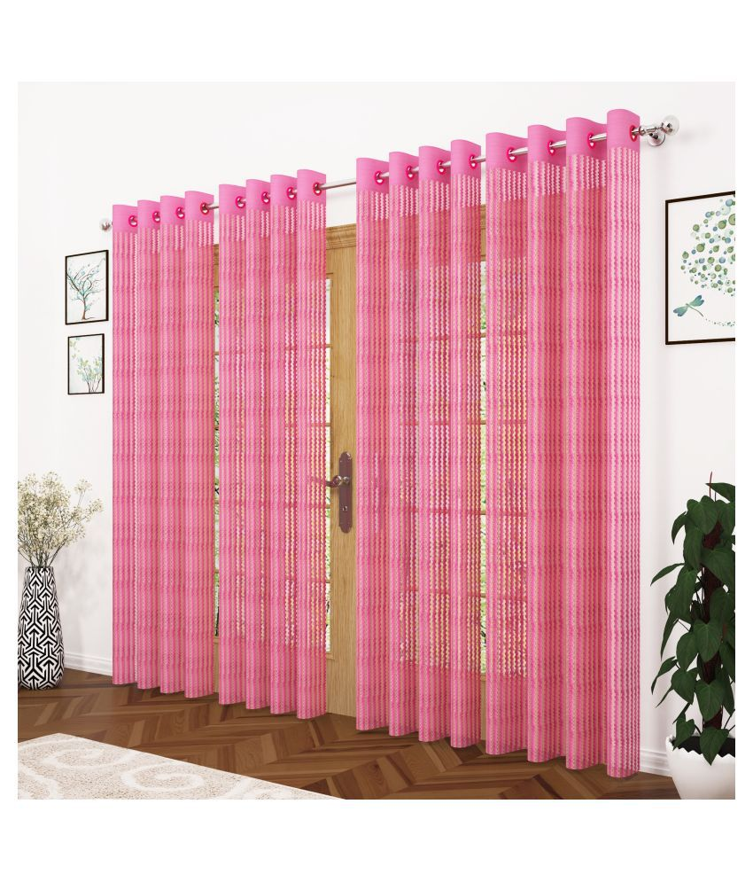 Story@Home Set of 4 Door Semi-Transparent Eyelet Polyester Curtains Pink