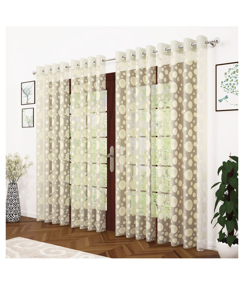 Story@Home Set of 4 Door Semi-Transparent Eyelet Polyester Curtains Beige