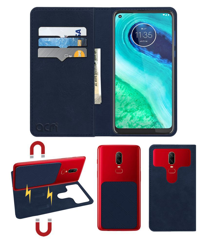 Moto G8 Flip Cover by ACM - Blue 2 in 1 Detachable Case