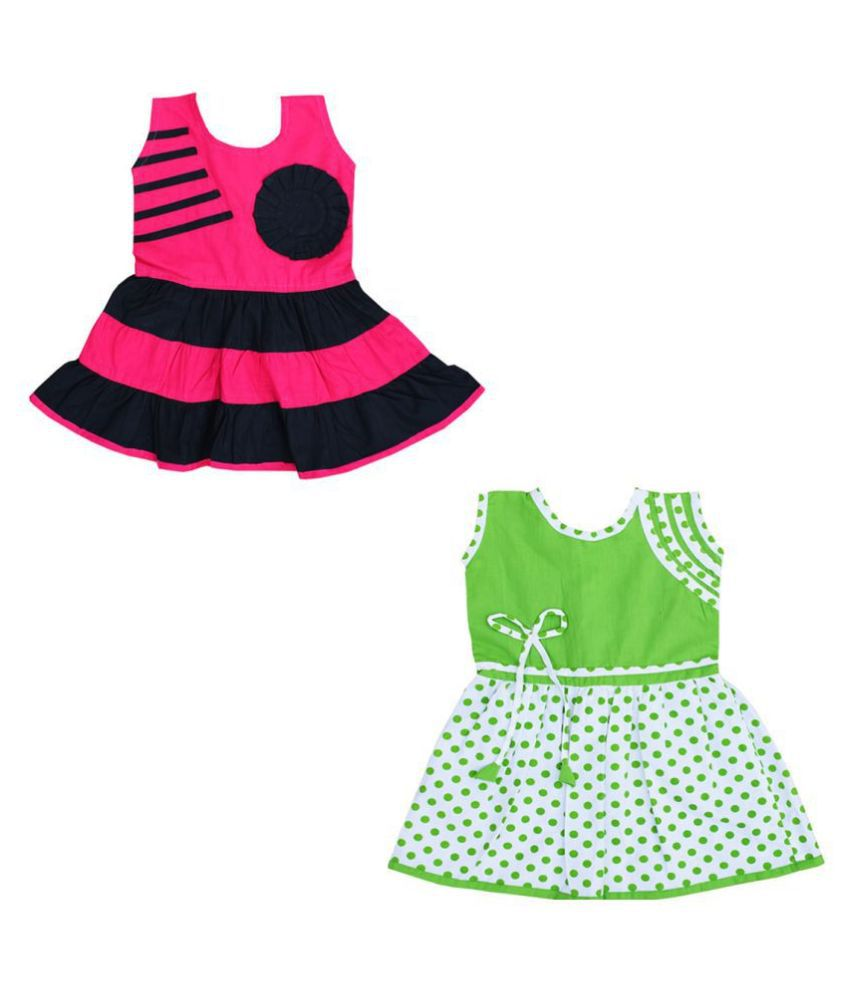 Dakshan Collections Self Design Cotton Combi Dresses For Girls (Pack 2)