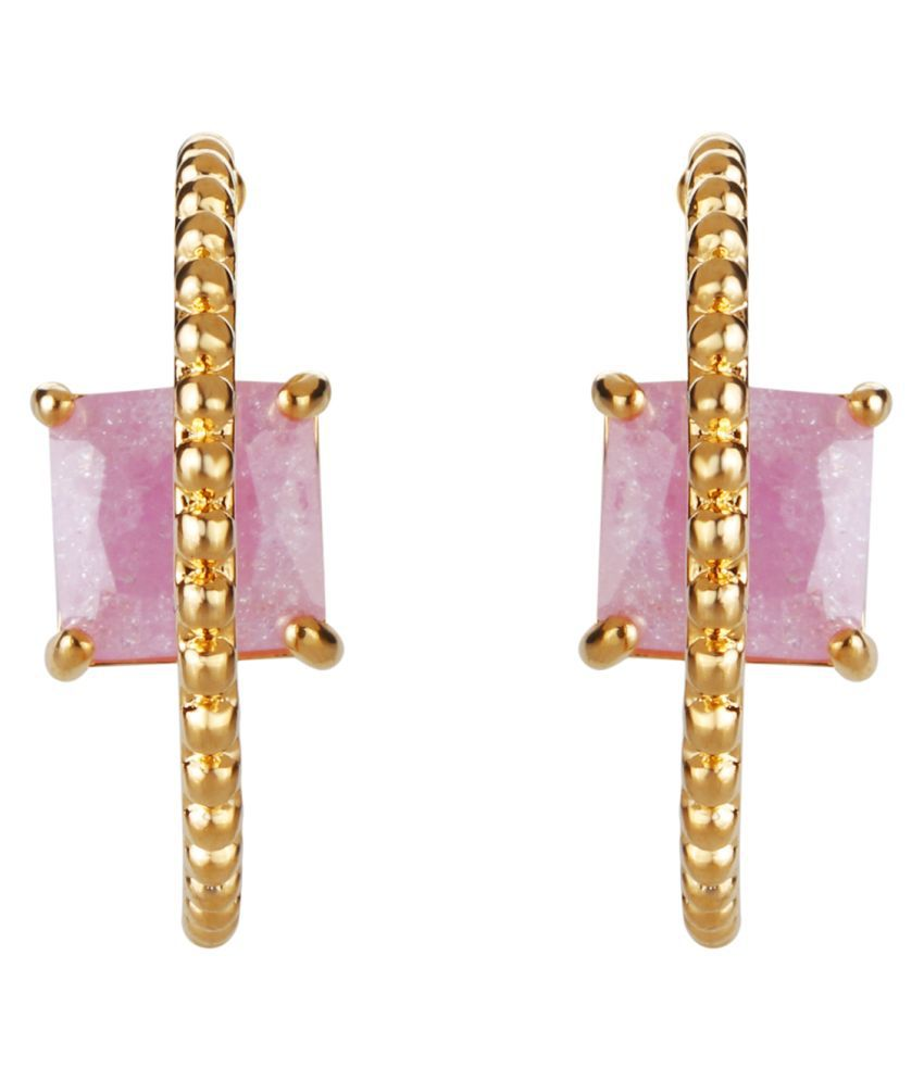 Gold With Pink Diamond Design Earring IER-2238