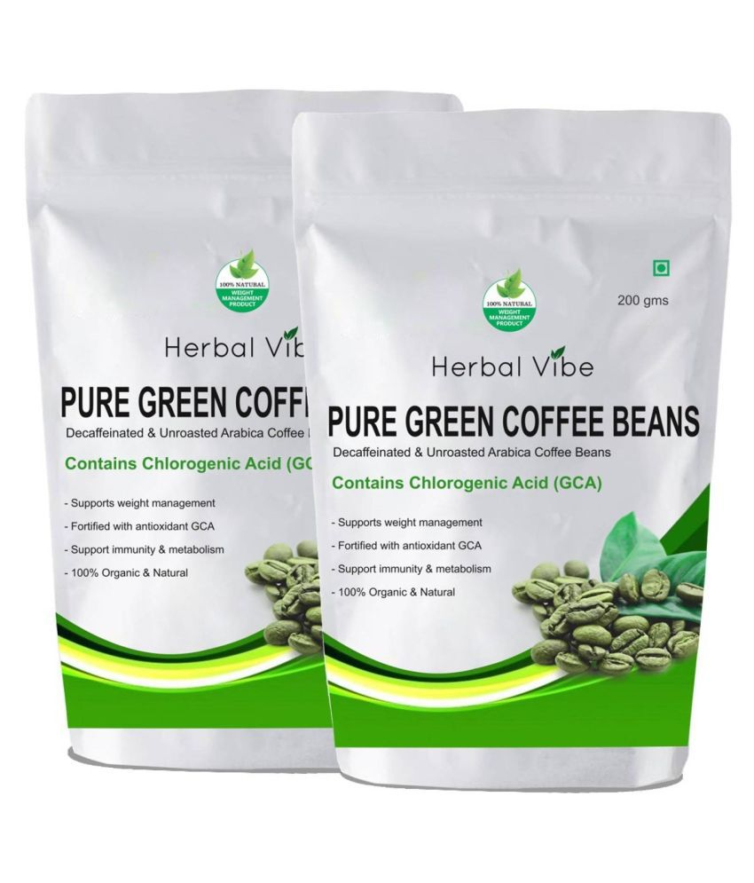 Herbal Vibe GREEN COFFEE BEANS FOR WEIGHT LOSS 400 gm Unflavoured Pack of 2