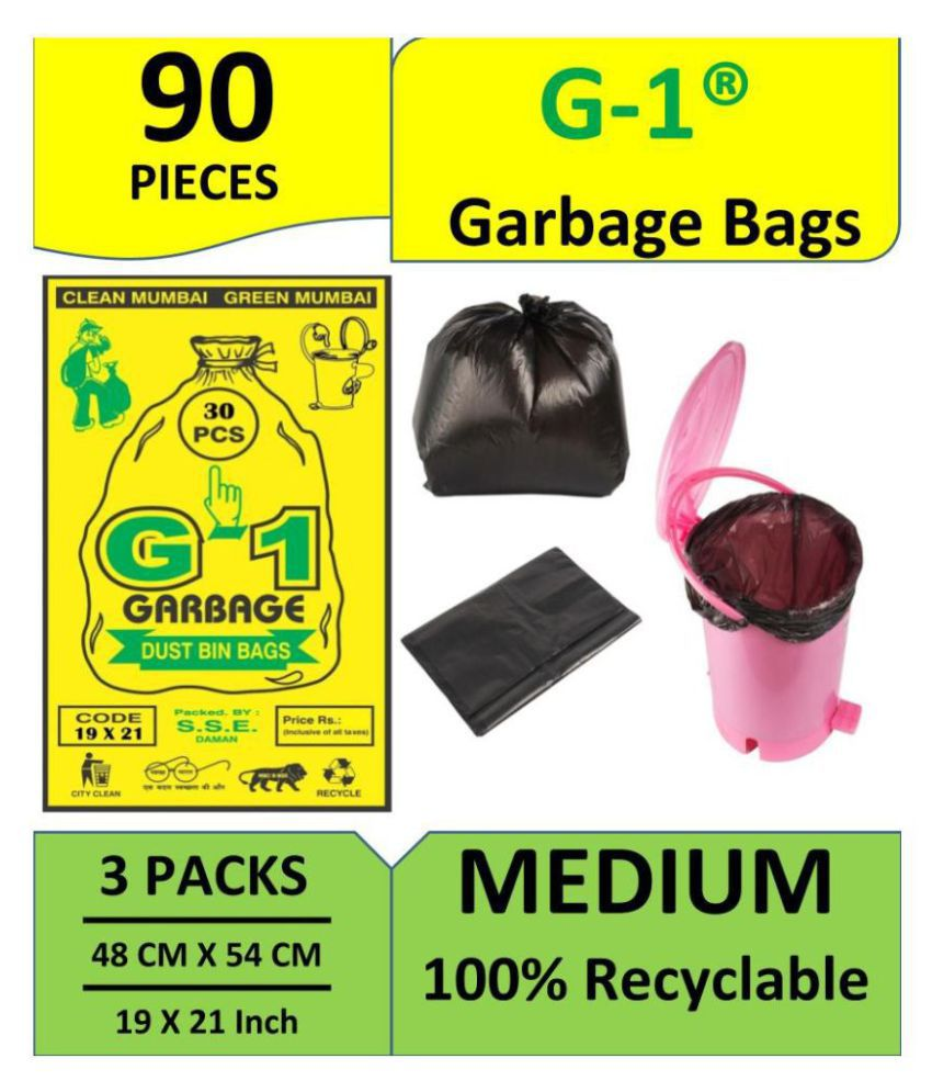 G 1® 100% Recyclable Garbage Bags And Covers - 90 Pieces - Medium Size 19X21 Inch, Black Color