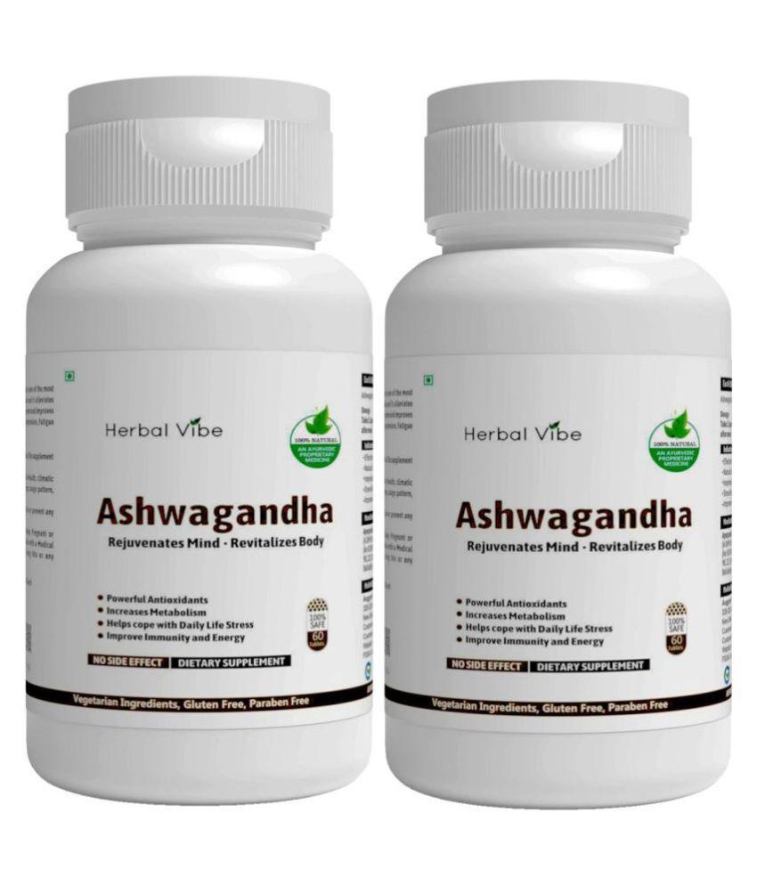 Herbal Vibe Ashwagandha Extract for Vigor & Vitality Capsule 120 no.s Pack of 2