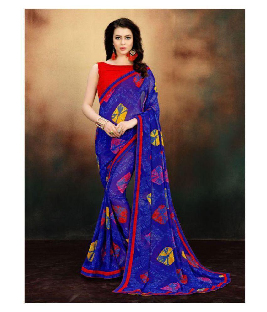 Onlinefayda Blue,Purple Georgette Saree