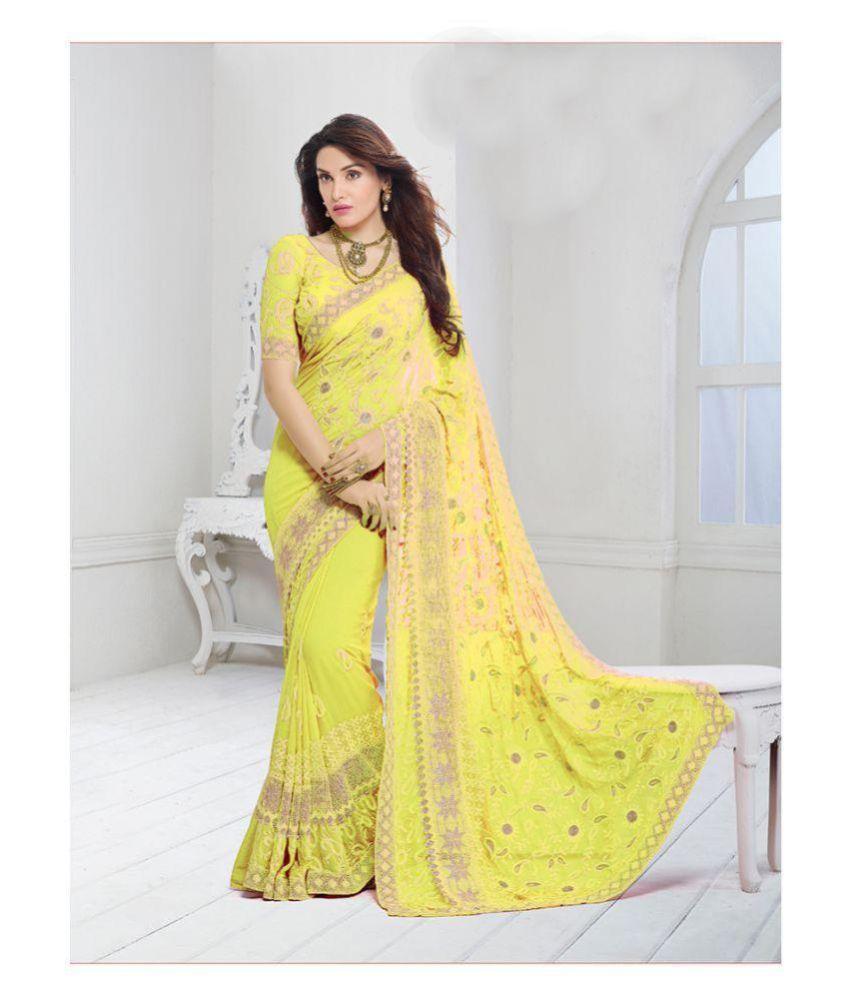 Onlinefayda Yellow,Green Chiffon Saree