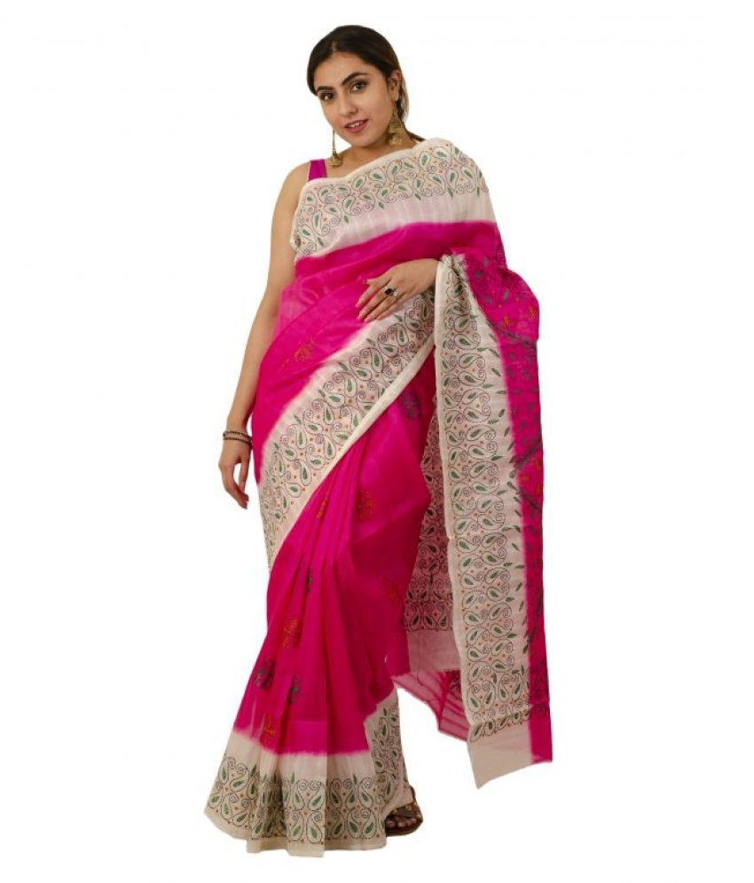 Tribes India Pink Art Silk Saree