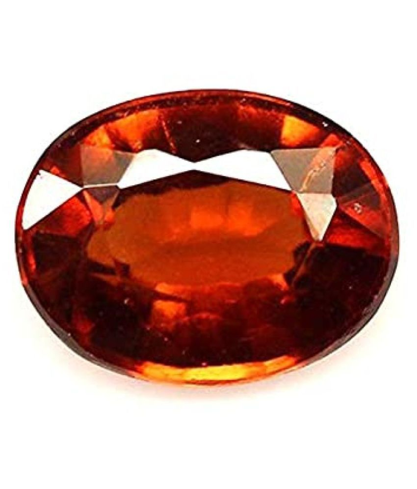 GEMS WORLD   7.25 Crt.(8.00 Ratti) Certified Natural Gomed/Hessonite Natural Certified Precious Loose Gemstone making for Ring Pendant