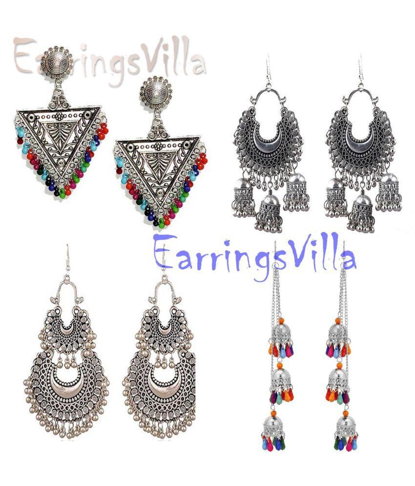Latest New Silver Designer Kashmiri Dangle Trendy Oxidized Earrings for Women and Girls Combo of 4 Earrings
