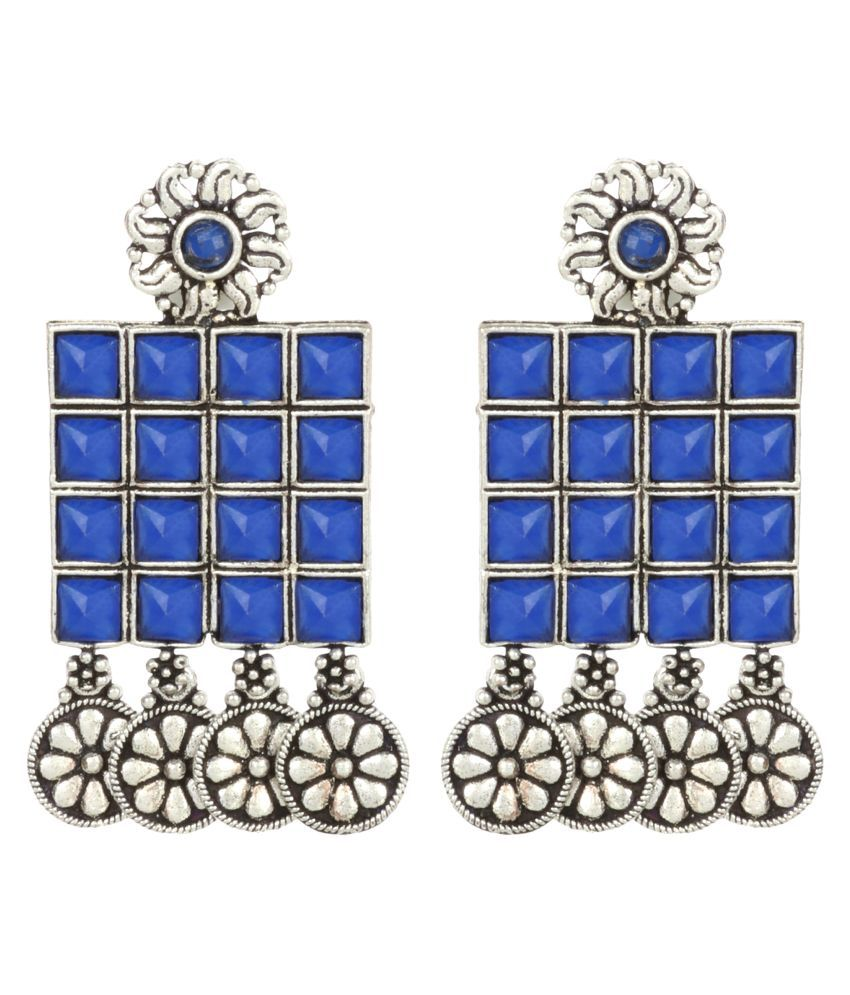 Priyaasi Oxidised Silver Plated Blue Stone Studded Square Shaped Drop Earrings