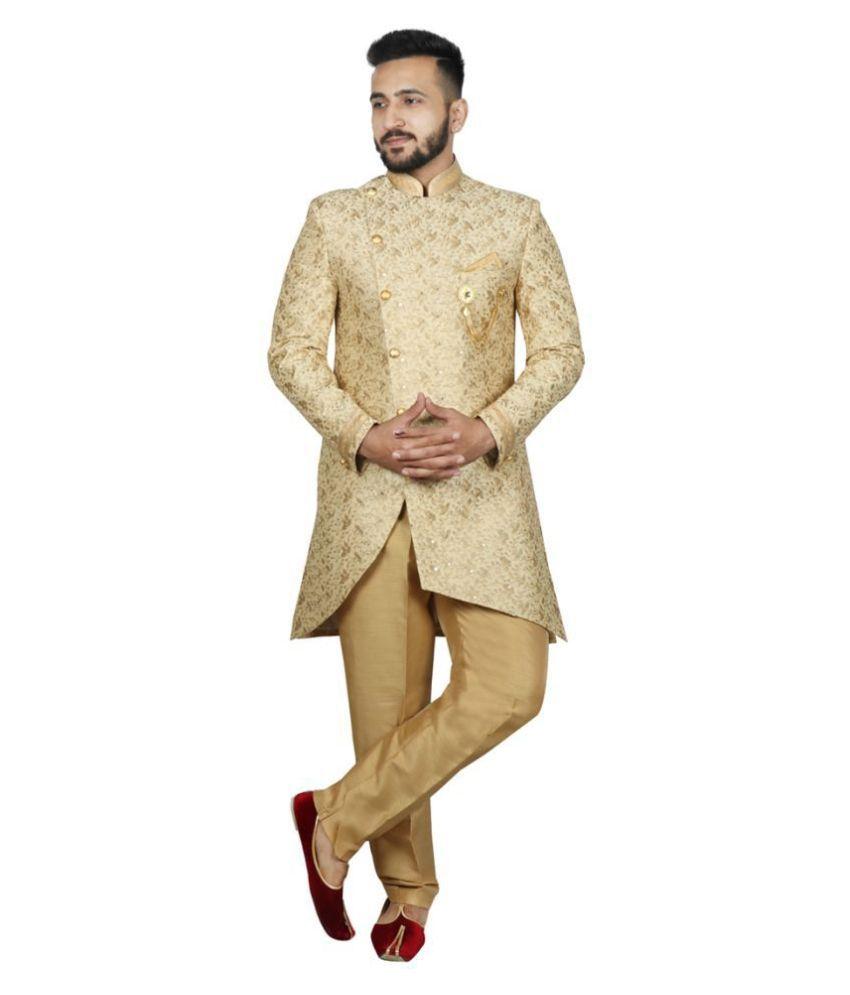 SG RAJASAHAB Beige Silk Blend Sherwani