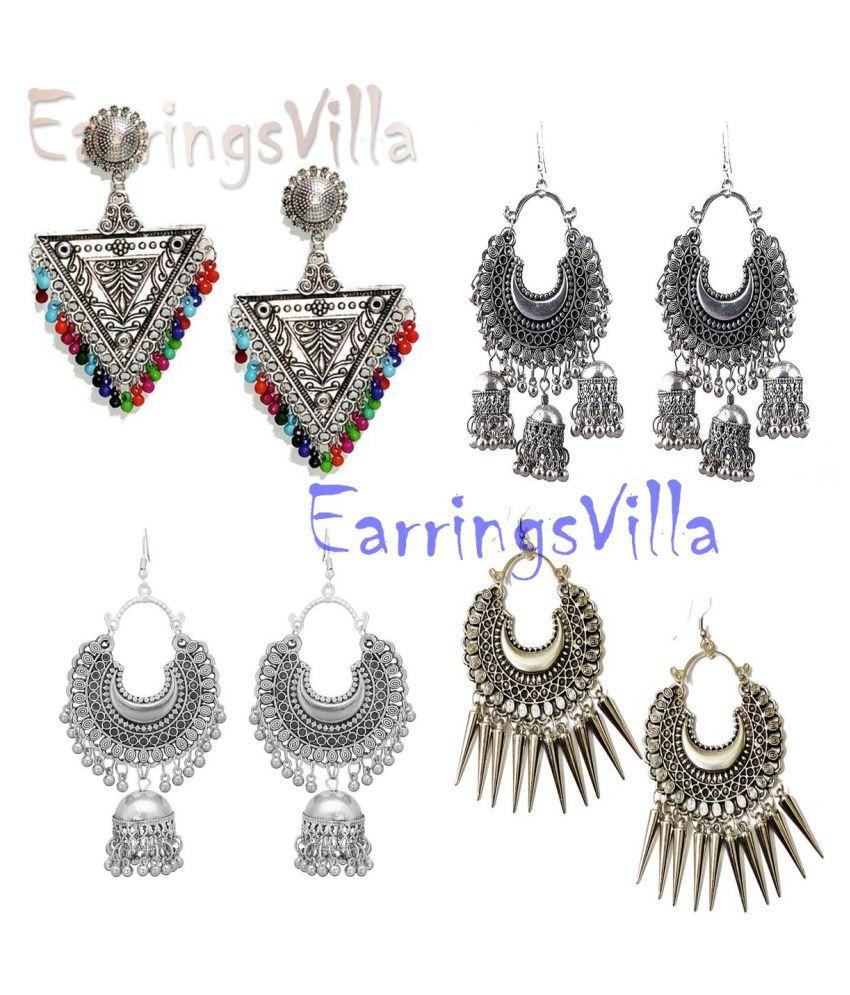 Trendy New Silver Designer Kashmiri Dangle Oxidized Earrings for Women and Girls Combo of 4 Earrings