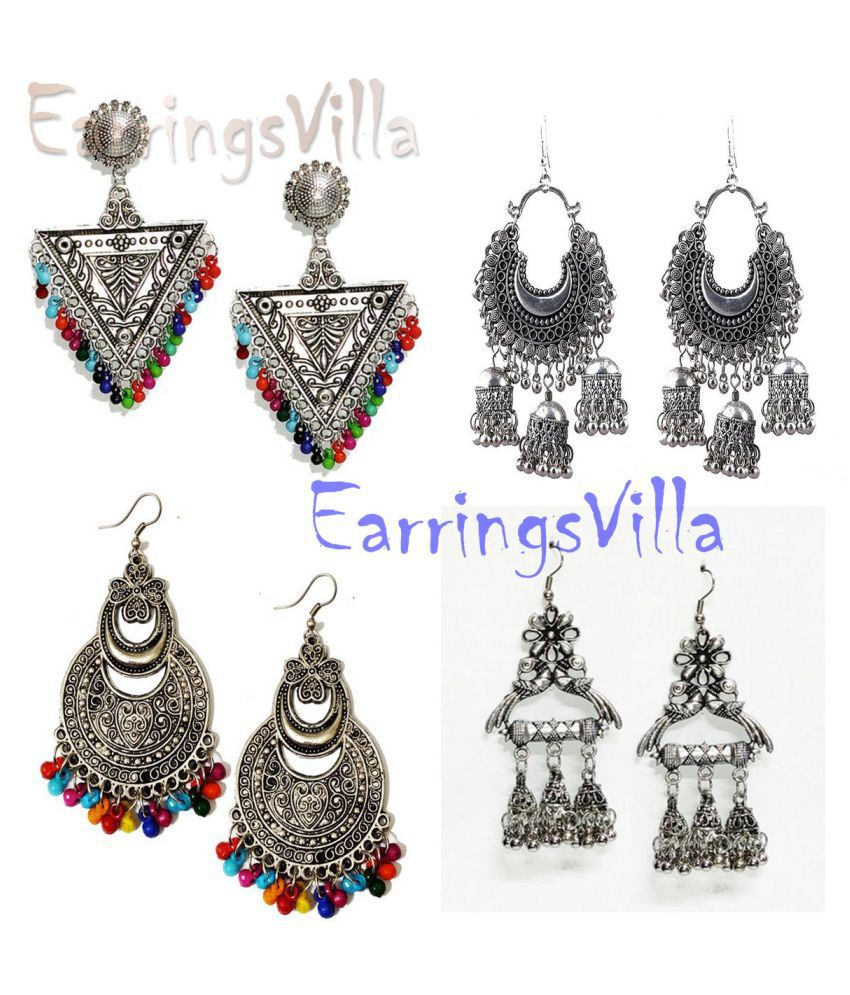 Trendy Silver Earrings For Girls Fancy Party Wear Combo Combo of 4 Earrings