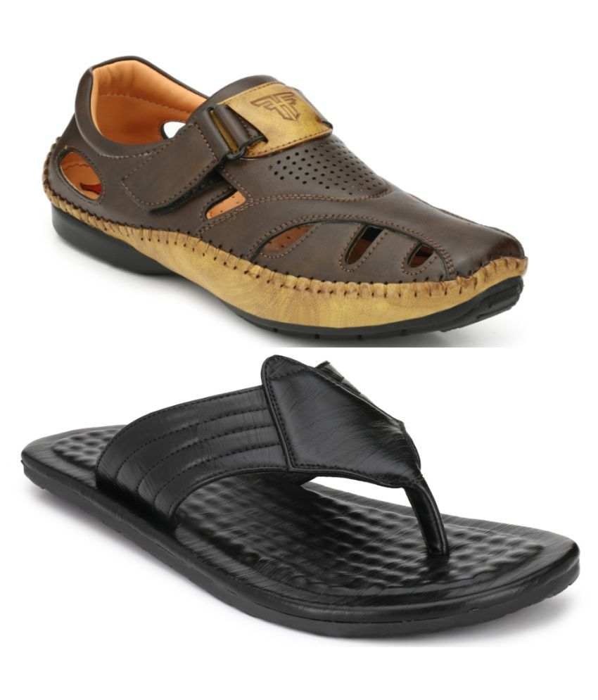 Fashion Victim Brown Floater Sandal Combo