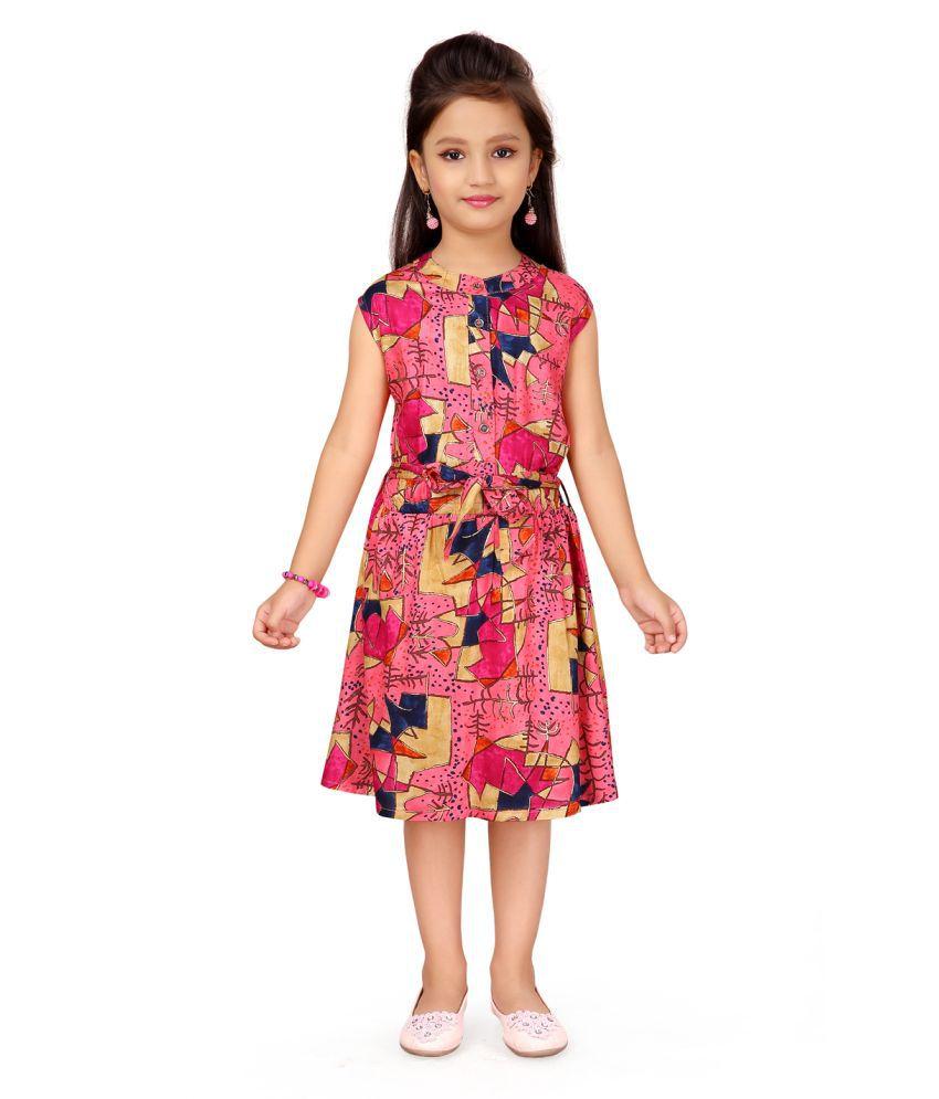 Aarika Girl's Pink coloured Party Wear Dress