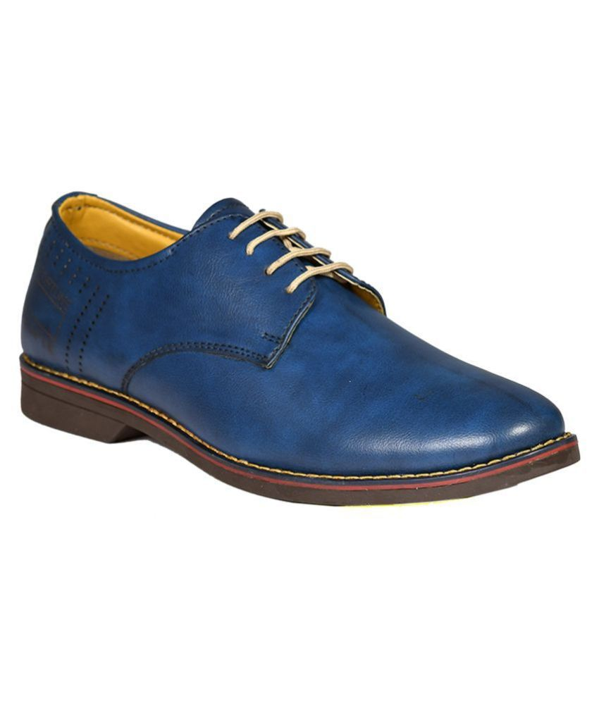 SIMATA Derby Genuine Leather Blue Formal Shoes