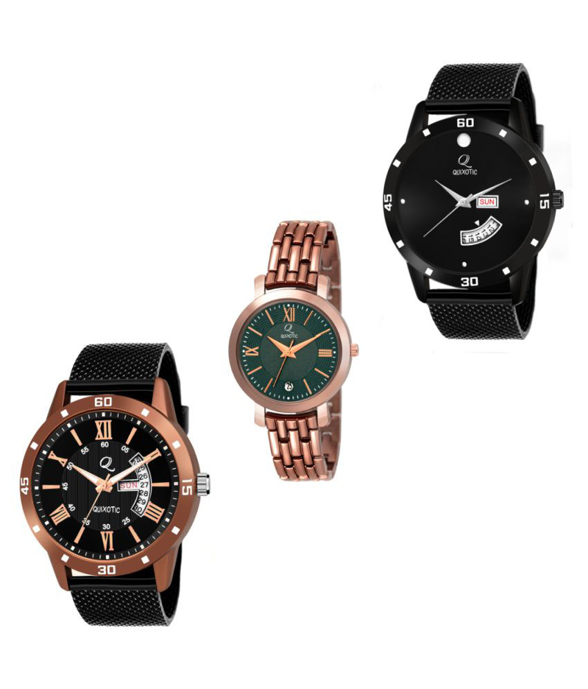 Stunning Black Minimalistic & Copper Day-Date Functioning Casual-Formal-Party Wear ♥ Couple Watch ♥