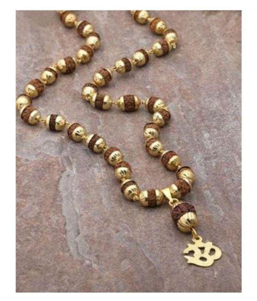 bhaune collection Original Om Rudraksha Pendant Mala With 1 Gram Gold Plated Cap
