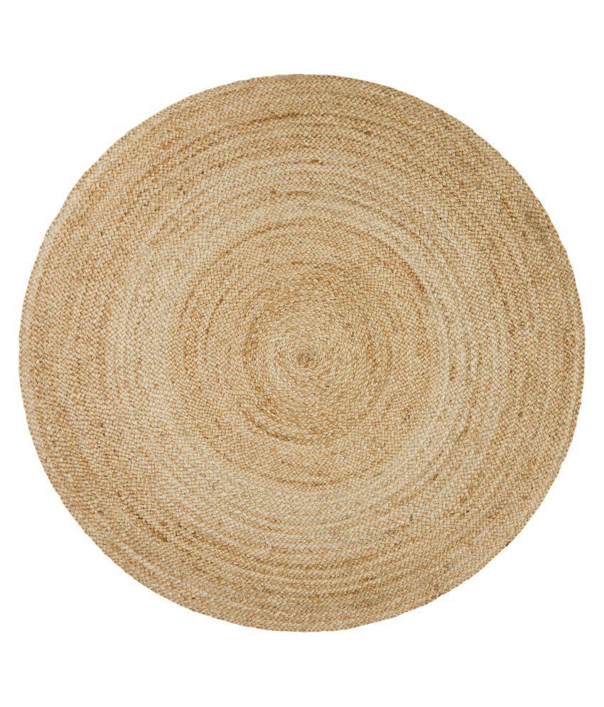 PRINTSHOPPI Beige Jute Carpet Natural Other Sizes Ft